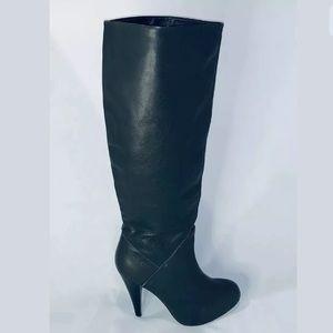 Dolce Vita Grey Leather Knee High Heel Boots-Sz: 7